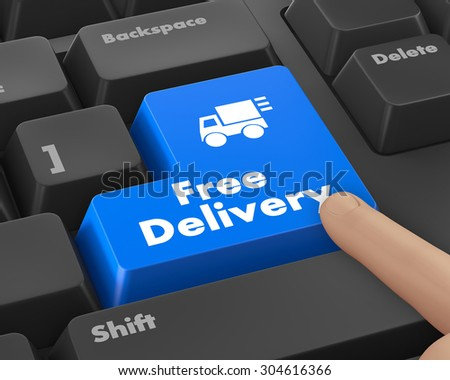 free delivery key on laptop keyboard button, raster