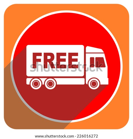 free delivery red flat icon isolated  - stock photo