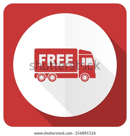 free delivery red flat icon transport sign  - stock photo