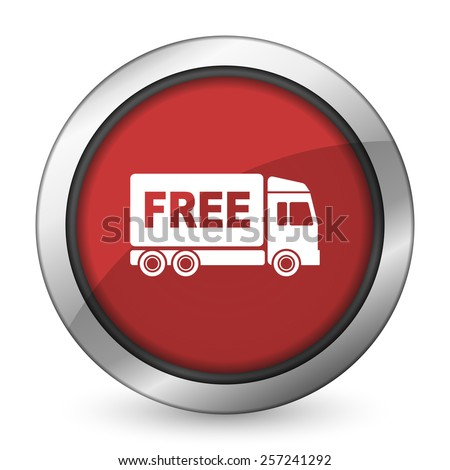 free delivery red icon transport sign  - stock photo
