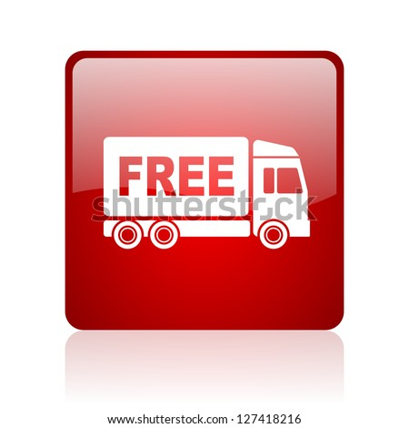 free delivery red square glossy web icon on white background - stock photo