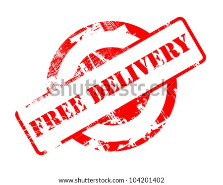 Free Delivery red stamp with copy space isolated on white background.