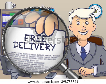 Free Delivery. Successful Officeman Welcomes in Office and Shows Paper with Text through Magnifying Glass. Multicolor Doodle Illustration. - stock photo
