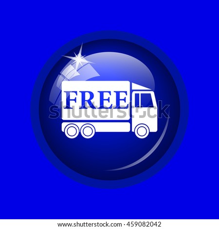 Free delivery truck icon. Internet button on blue background.  - stock photo