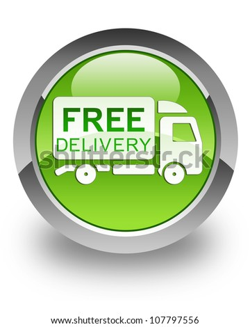 Free delivery truck icon on glossy green round button - stock photo