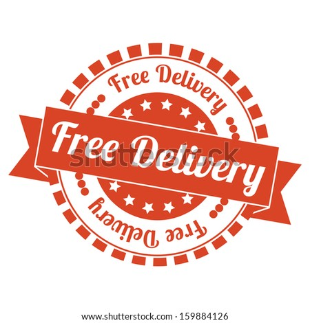 Free Delivery Vintage Stamp with orange color - stock photo