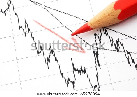 free fall of the stock market concept with red pen and business chart