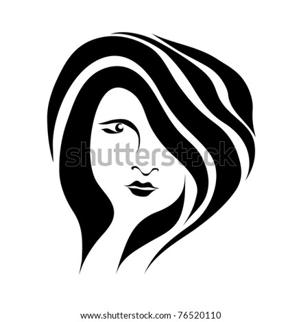 Free hand drawing abstract face of beautiful romantic girl isolated on white background (raster version). As sign, symbol. web, tattoo, emblem, label, logo, icon. - stock photo
