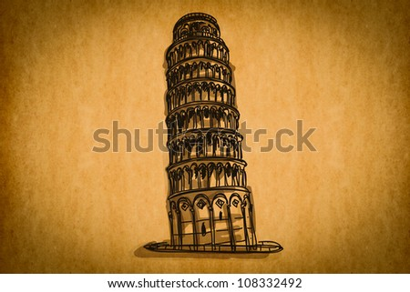 Free hand sketch collection: Pisa tower, Italy on old paper texture