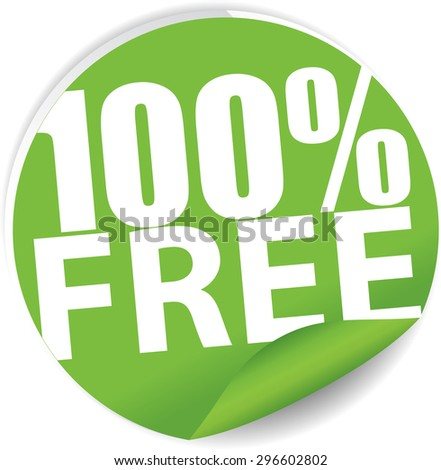Free 100 percent text on green sticker, label, sign and icon. - stock photo