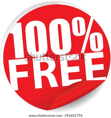 Free 100 percent text on red sticker, label, sign and icon. - stock photo