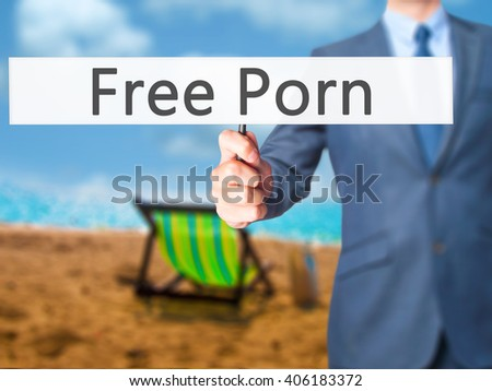 Free Porn - Businessman hand holding sign. Business, technology, internet concept. Stock Photo