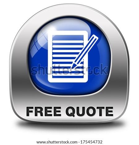 free quote button or icon - stock photo