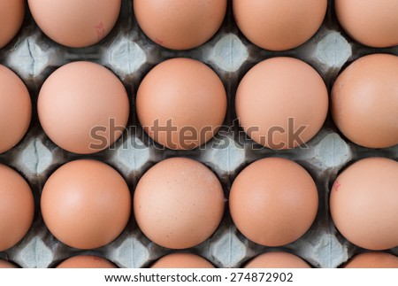 Free range eggs, food market display - stock photo