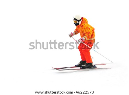 Free rider ski on the mountain isolated on white