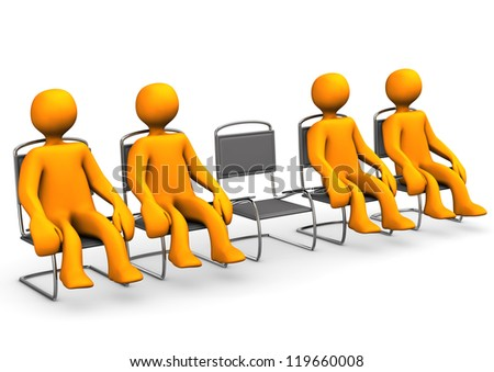 Free seat in a ante room. White background.