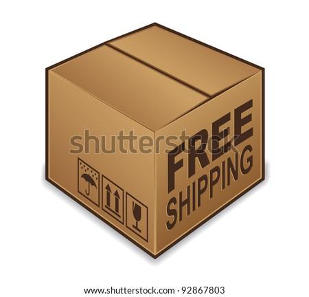 Free Shipping box icon isolated on white background - stock photo