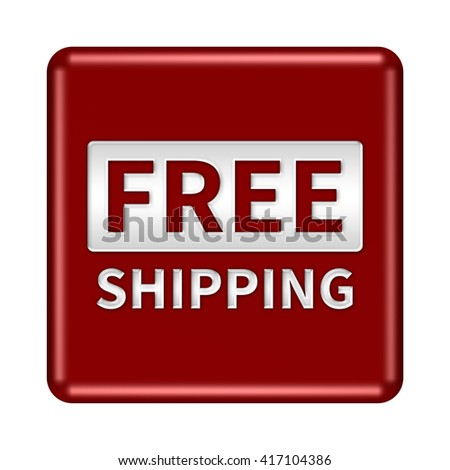 free shipping button isolated. 3D illustration/3D rendering  - stock photo