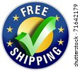 Free Shipping button/label - stock photo