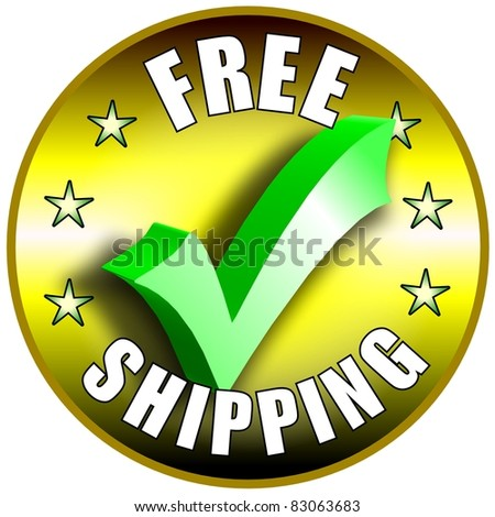 Free Shipping button/label - golden version - stock photo