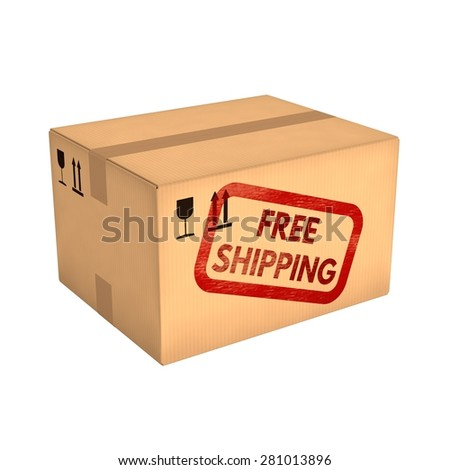 Free shipping. Closed cardboard box isolated on white background. Retail, logistics, delivery and storage concept. Side view with perspective.