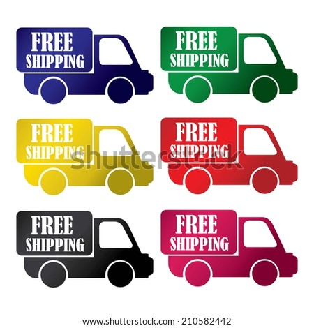 Free Shipping colorful icons set.