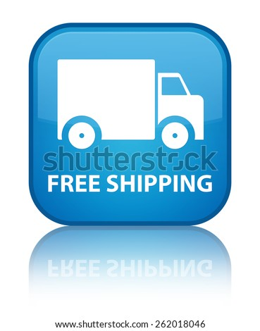 Free shipping cyan blue square button - stock photo