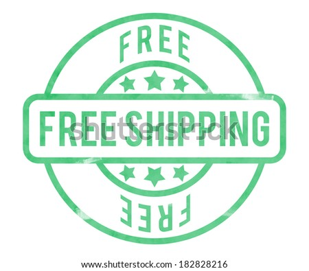 Free Shipping Stamp - stock photo