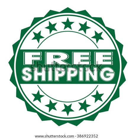 free shipping stamp on white
