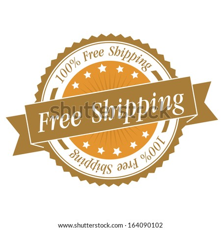 Free shipping stamp, sticker, tag, label, sign, icon with yellow color.JPG - stock photo