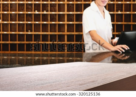 free space on deks top in hotel  - stock photo
