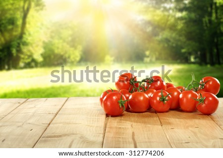 free space on table and red vegetables of tomato  - stock photo