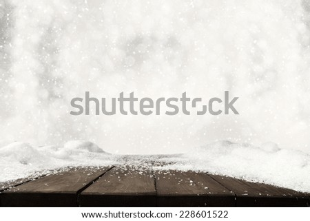 free space on table and white snow and frost  - stock photo