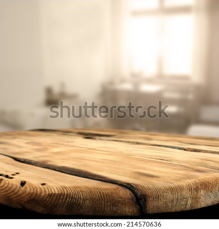 free space on wooden table and sunlight  - stock photo