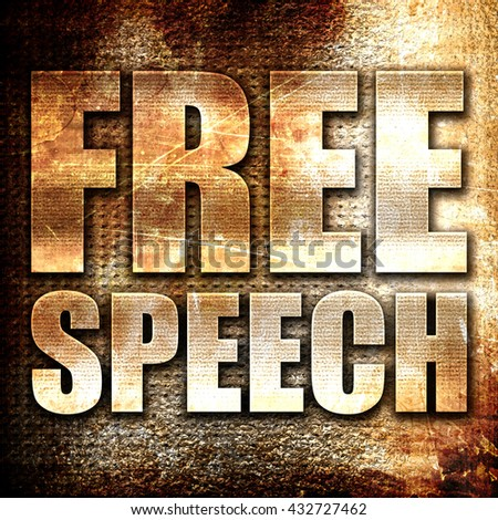 free speech, 3D rendering, metal text on rust background - stock photo