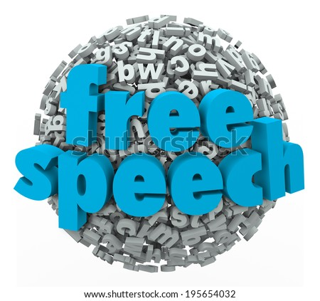 Free Speech words on a ball of 3d letters to illustrate liberty, rights, freedom and beliefs - stock photo