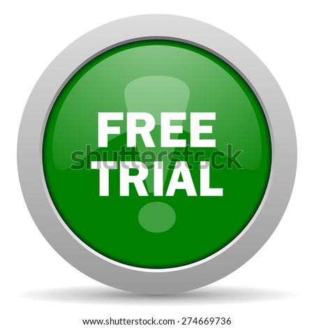 free trial green glossy web icon