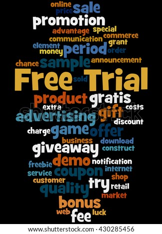 Free Trial, word cloud concept on black background.