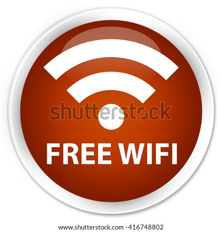 Free wifi brown glossy round button