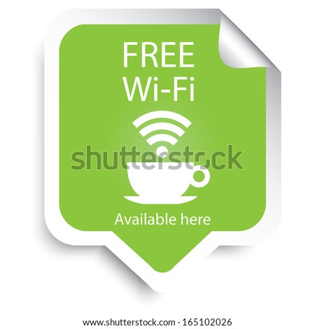 Free wifi cafe sticker with green color. JPG - stock photo