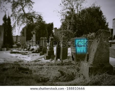 Free WiFi cemetery - stock photo