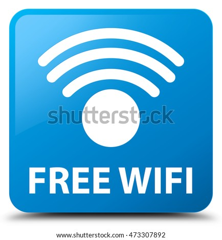 Free wifi cyan blue square button