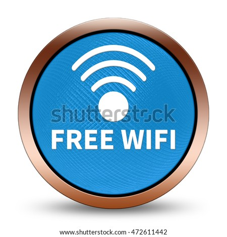 Free wifi icon. Internet button.3d illustration