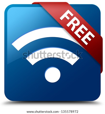 Free Wifi (Wifi icon) glassy red ribbon on glossy blue square button - stock photo