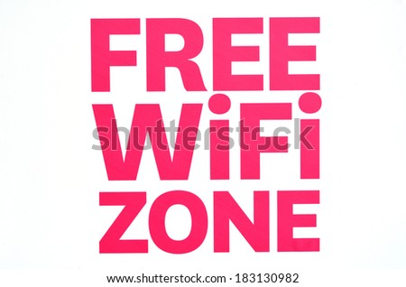 Free WiFi zone wireless internet sign isolated on white background. Concept photo of internet, network,connection, business and services advertisement in cafes, restaurants and airports. - stock photo