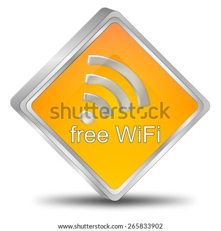 free wireless WiFi button - stock photo
