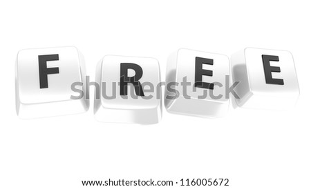 FREE written in black on white computer keys. 3d illustration. Isolated background. - stock photo