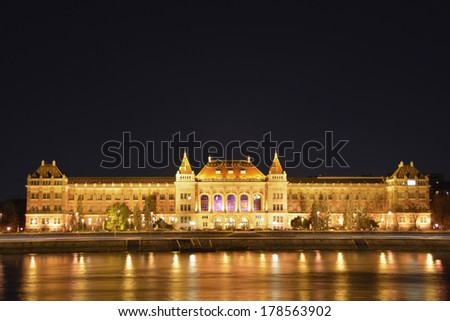 Freedom bridge of Budapest by night - stock photo