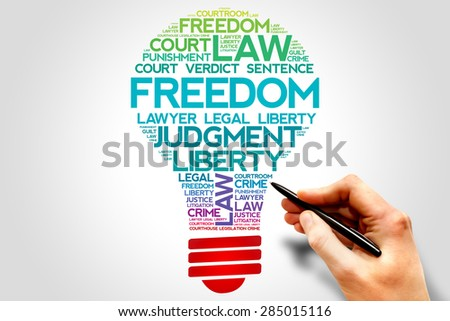 Freedom bulb word cloud concept - stock photo