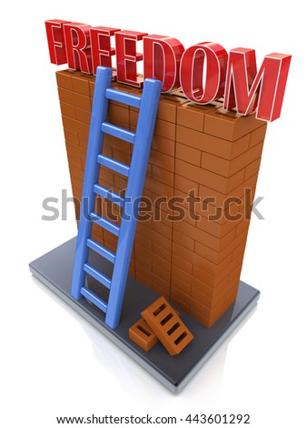 Freedom concept. Ladder leading to a better place in the design of information related to the desire for freedom. 3d illustration - stock photo